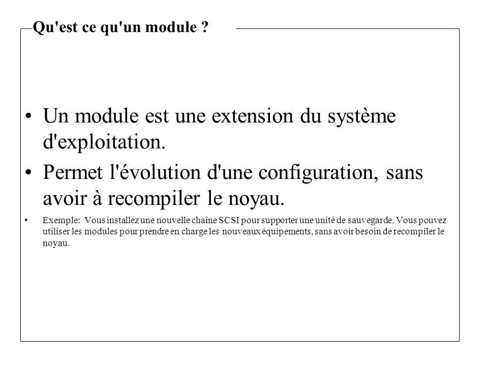 Un module est une extension du système d'exploitation. Permet l'évolution d'une configuration, sans avoir à recompiler le noyau. Exemple: Vous install