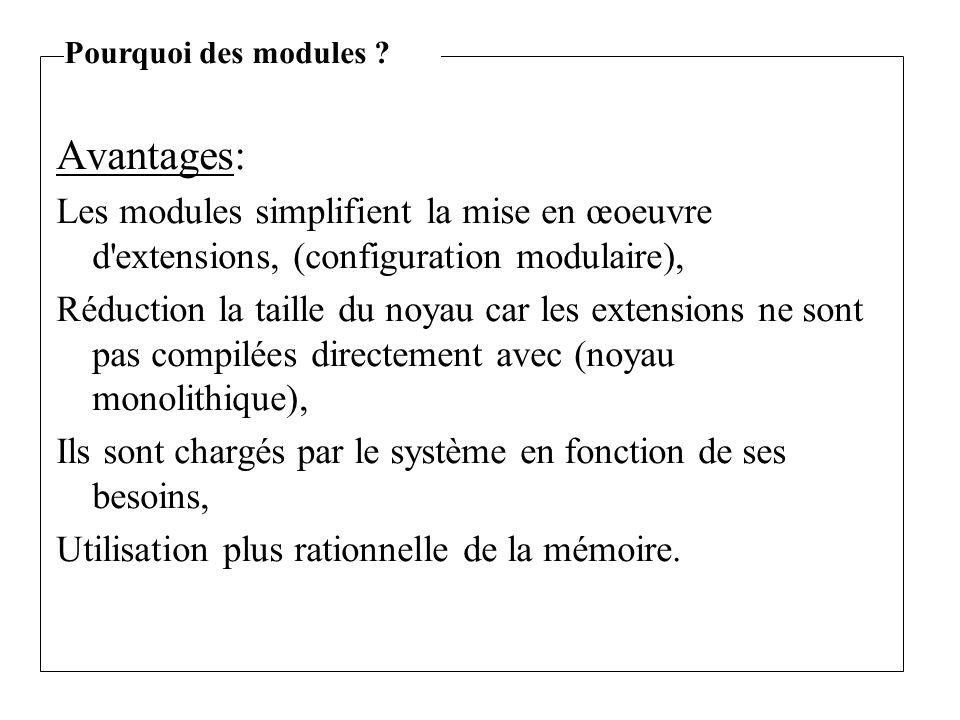 Avantages: Les modules simplifient la mise en œoeuvre d extensions, (configuration modulaire), Réduction la taille du noyau car les extensions ne sont pas compilées directement avec (noyau monolithique), Ils sont chargés par le système en fonction de ses besoins, Utilisation plus rationnelle de la mémoire.