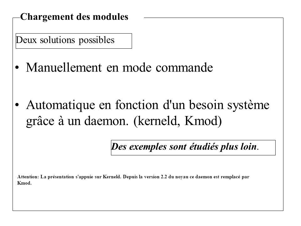 Manuellement en mode commande Automatique en fonction d'un besoin système grâce à un daemon. (kerneld, Kmod) Deux solutions possibles Des exemples son