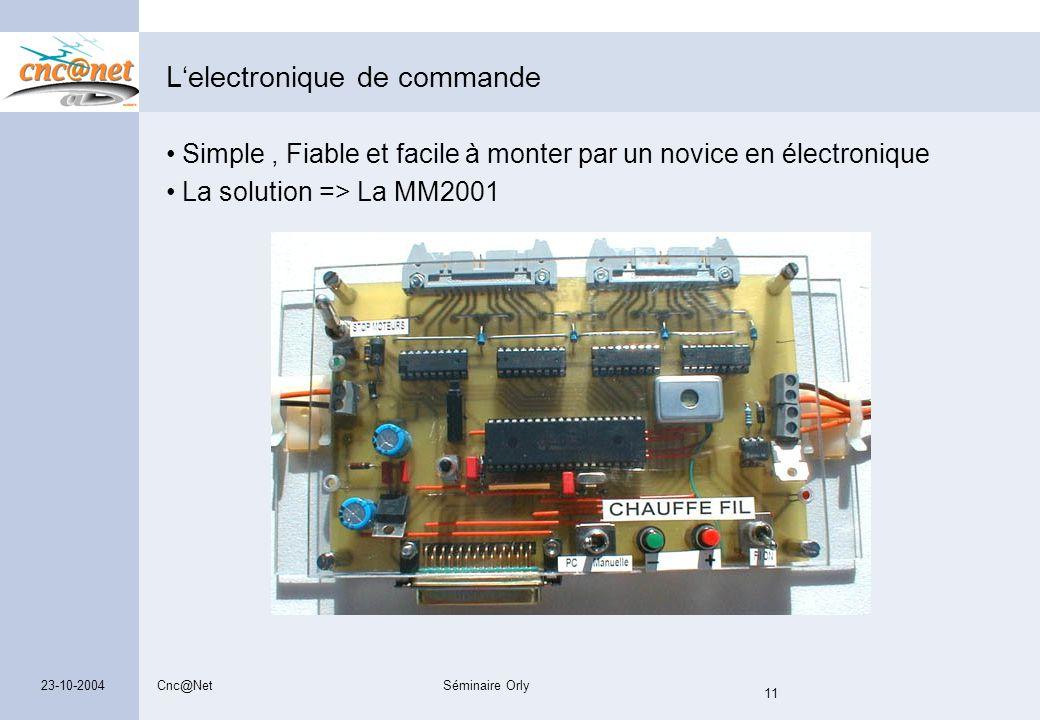 Cnc@NetSéminaire Orly 11 23-10-2004 L'electronique de commande Simple, Fiable et facile à monter par un novice en électronique La solution => La MM200