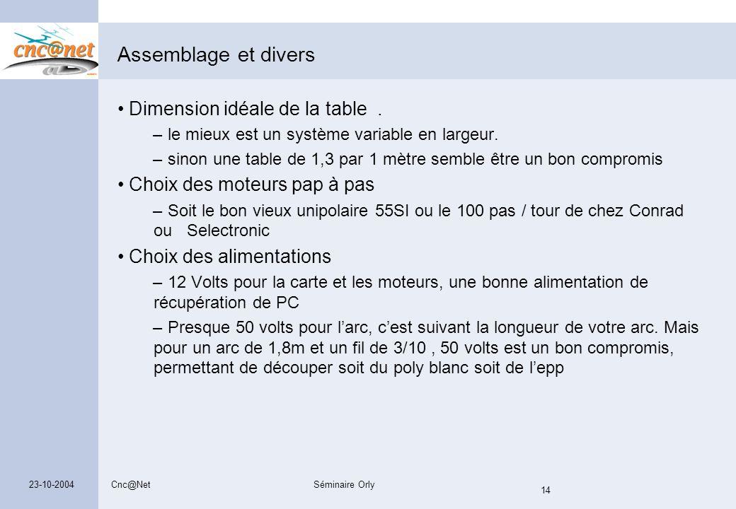 Cnc@NetSéminaire Orly 14 23-10-2004 Assemblage et divers Dimension idéale de la table. – le mieux est un système variable en largeur. – sinon une tabl