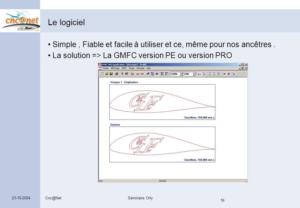 Cnc@NetSéminaire Orly 16 23-10-2004 Le logiciel Simple, Fiable et facile à utiliser et ce, même pour nos ancêtres. La solution => La GMFC version PE o