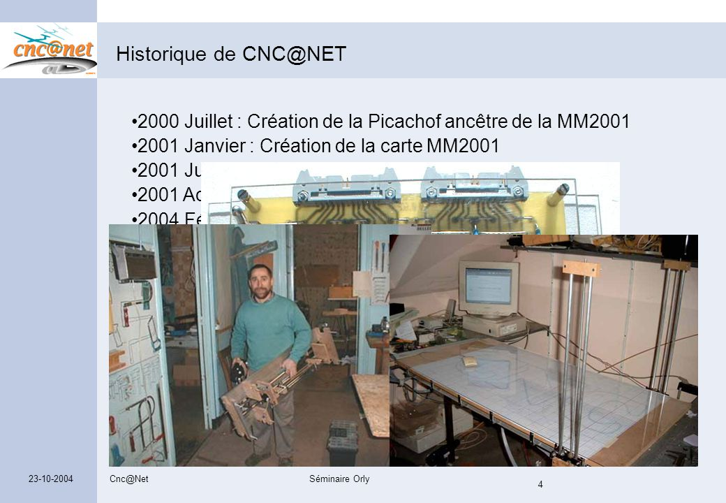 Cnc@NetSéminaire Orly 4 23-10-2004 Historique de CNC@NET Premiers membres de la liste -Pierre Rondel -Laurent Chef -Jean Paul Jakubowicz -Olivier Sego