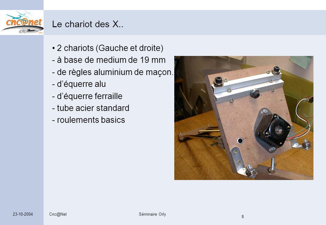 Cnc@NetSéminaire Orly 8 23-10-2004 Le chariot des X.. 2 chariots (Gauche et droite) - à base de medium de 19 mm - de règles aluminium de maçon. - d'éq