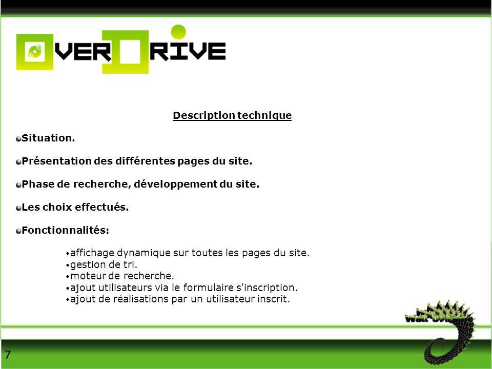 Description technique Situation. Présentation des différentes pages du site.