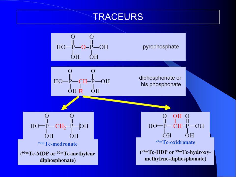 REALISATION PRATIQUE Injection intraveineuse Phase vasculaire : 0-2 min  vascularisation-> ALGO Diffusion interstitielle (temps tissulaire) : 2-5 min  perméabilité capillaire-> Patho inflammatoire Fixation osseuse (temps tardif) : > 2h30 après inj  adsorption sur les cristaux d'hydroxyapatite en formation  activité ostéoblastique (+++)  balayage corps entier, vues centrées, tomoscintigraphie-CT Elimination du surplus par voie urinaire  (hydratation +++) Contre indication = GROSSESSE  10 premiers jours du cycle ou  HCG -