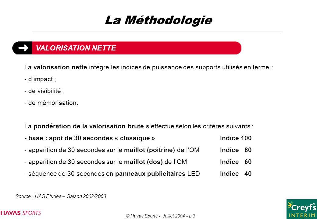 © Havas Sports - Juillet 2004 - p 3 La valorisation nette intègre les indices de puissance des supports utilisés en terme : - d'impact ; - de visibili