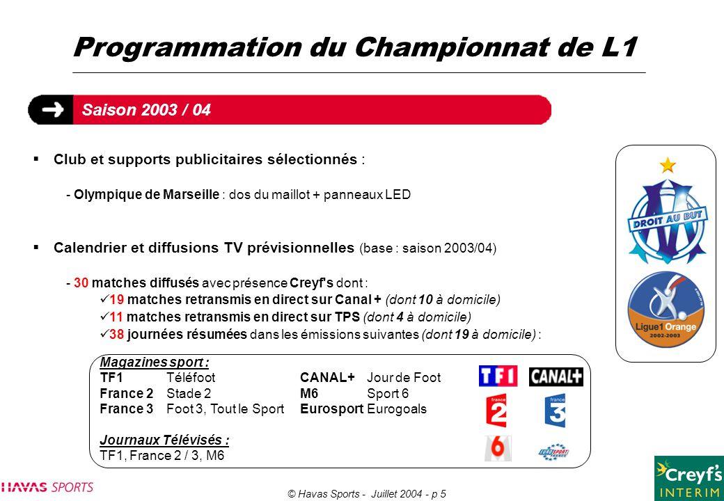 © Havas Sports - Juillet 2004 - p 5 Programmation du Championnat de L1  Club et supports publicitaires sélectionnés : - Olympique de Marseille : dos