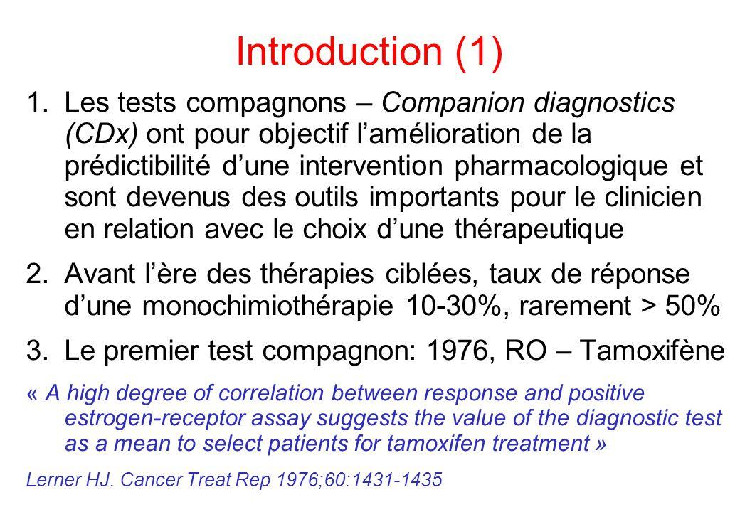 Introduction (1) 1.Les tests compagnons – Companion diagnostics (CDx) ont pour objectif l'amélioration de la prédictibilité d'une intervention pharmac