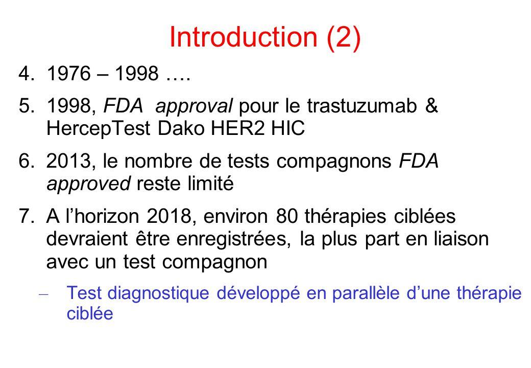 Définition 1.Tests compagnons – Companion diagnostics (CDx) – Theranostics – Pharmacodiagnostics – Pharmacogenomic biomarkers EMEA 2.Définition FDA: un dispositif diagnostique in vitro permettant de fournir des informations essentielles pour l'efficacité et la sécurité d'un agent thérapeutique – 3 directions A.Identifier les pts les plus susceptibles de bénéficier de l'agent thérapeutique B.Identifier les pts à risque de développer des effets secondaires lors de la mise en place de l'agent thérapeutique C.Evaluer la réponse afin d'ajuster le traitement (dose, arrêt…) pour améliorer l'efficacité et/ou la tolérance