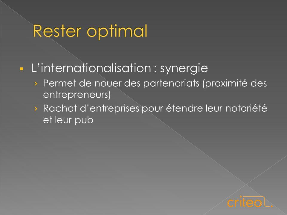  L'internationalisation : synergie › Permet de nouer des partenariats (proximité des entrepreneurs) › Rachat d'entreprises pour étendre leur notoriété et leur pub
