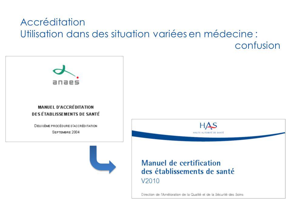 Accréditation Utilisation dans des situation variées en médecine : confusion