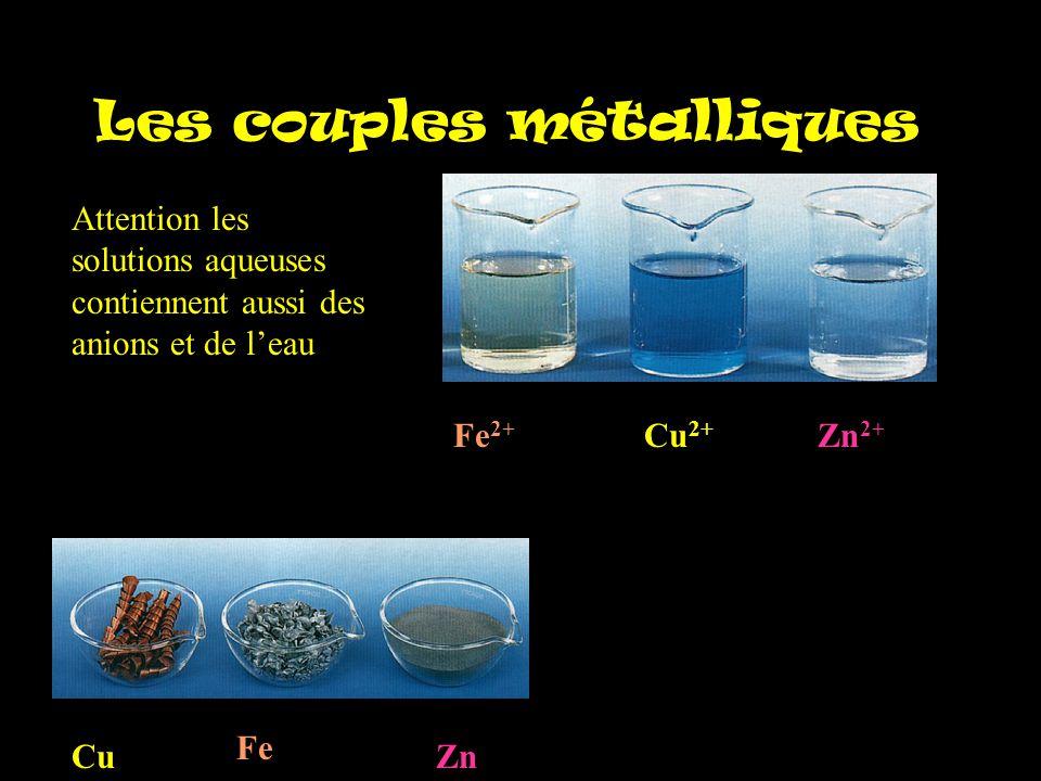 Les couples métalliques Cu Fe Zn Cu 2+ Fe 2+ Zn 2+ Attention les solutions aqueuses contiennent aussi des anions et de l'eau