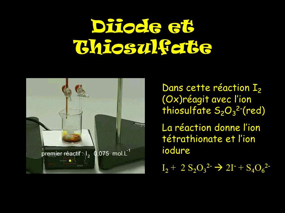 Diiode et Thiosulfate Dans cette réaction I 2 (Ox)réagit avec l'ion thiosulfate S 2 O 3 2- (red) La réaction donne l'ion tétrathionate et l'ion iodure I 2 + 2 S 2 O 3 2-  2I - + S 4 O 6 2-