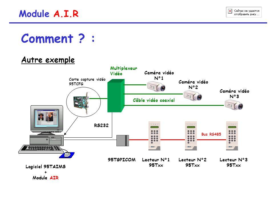 Comment ? : Autre exemple Module A.I.R Lecteur N°3 95Txx 95TGPICOM Bus RS485 Lecteur N°2 95Txx Lecteur N°1 95Txx Carte capture vidéo 95TCFG Logiciel 9