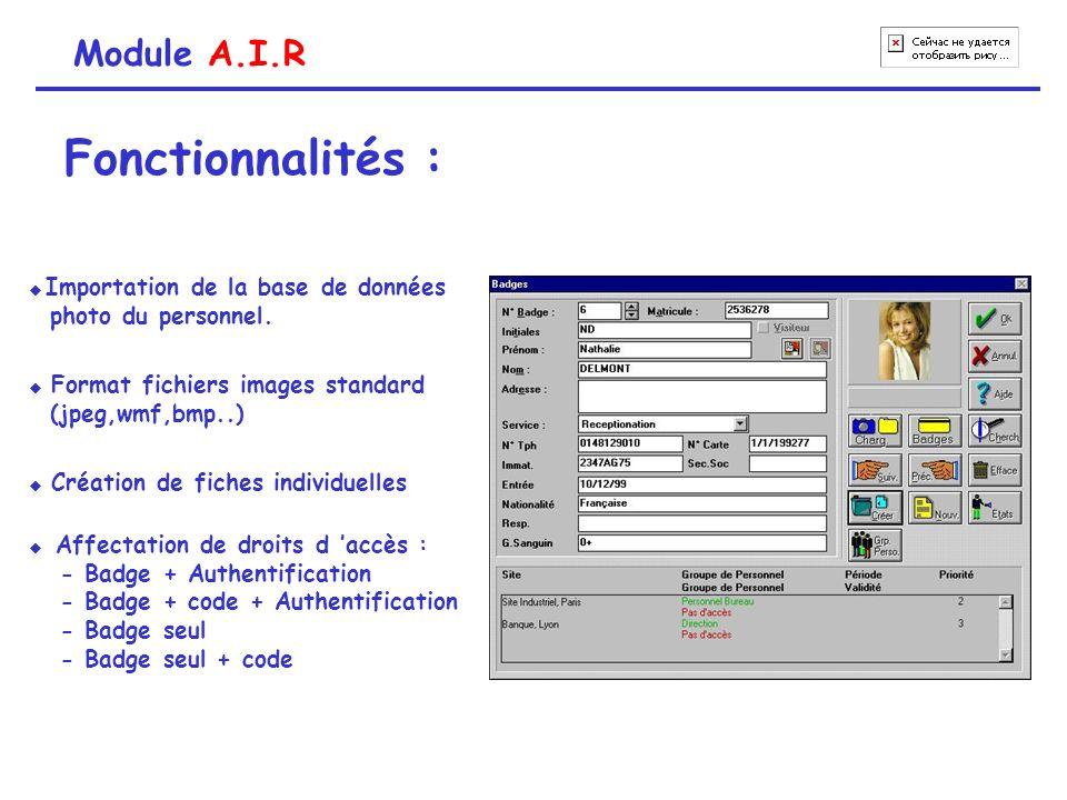 Module A.I.R Fonctionnalités :  Affectation de droits d 'accès : - Badge + Authentification - Badge + code + Authentification - Badge seul - Badge se