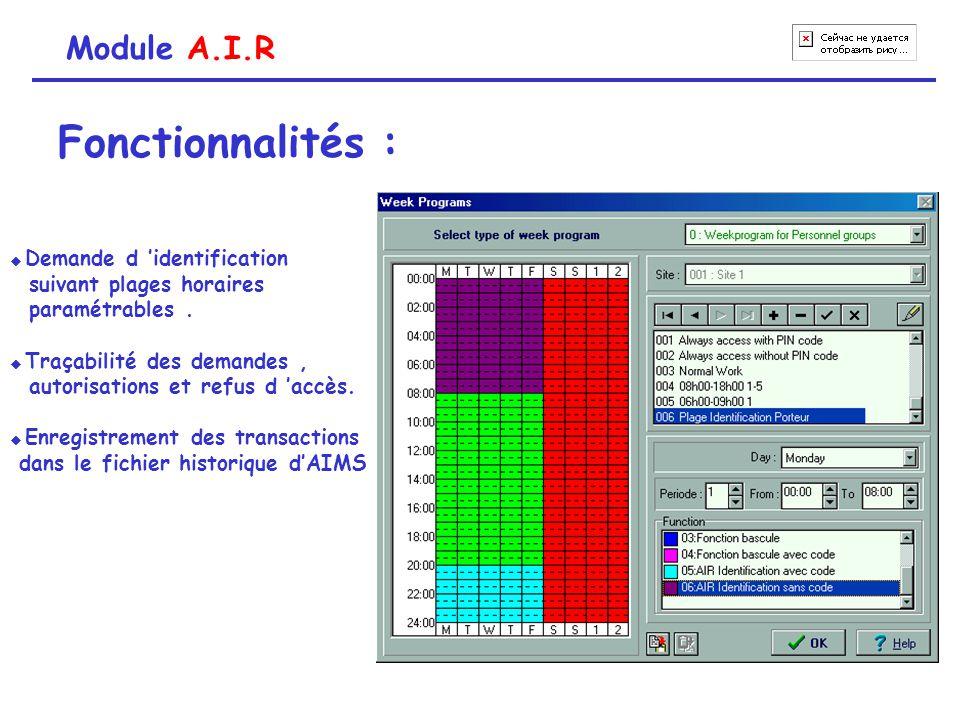 Module A.I.R Fonctionnalités : Identification visuelle Photo enregistrée dans la base de données Image en « live » provenant de la caméra vidéo Identification OK (ouverture porte) Requête invalide (demande rejetée) Liste des identifications en attente
