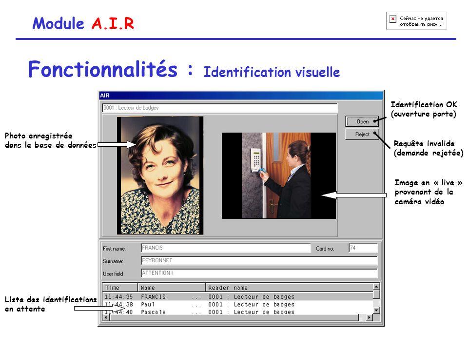 Module A.I.R Fonctionnalités : Identification visuelle Photo enregistrée dans la base de données Image en « live » provenant de la caméra vidéo Identi