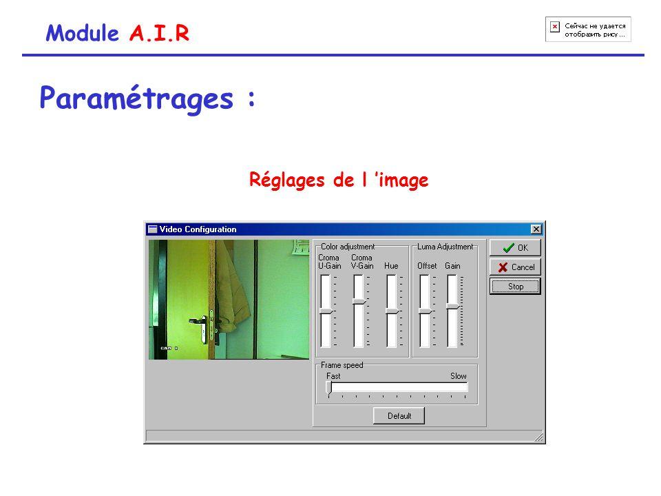 Module A.I.R Paramétrages : Réglages de l 'image