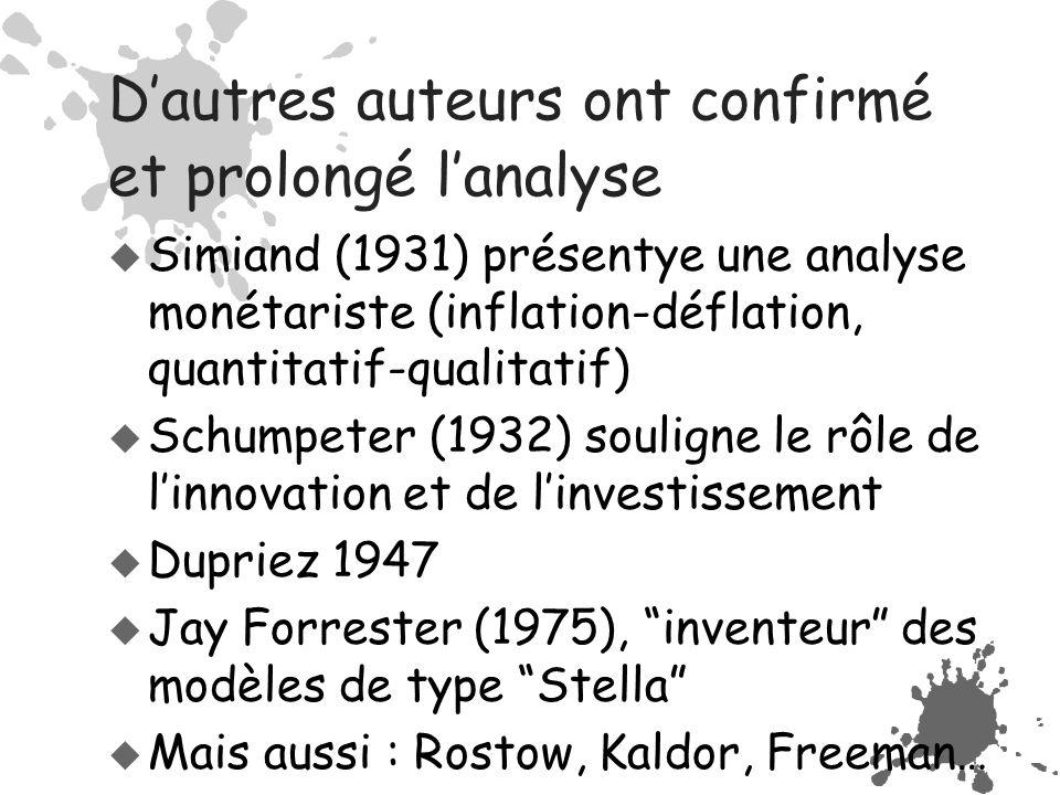 D'autres auteurs ont confirmé et prolongé l'analyse  Simiand (1931) présentye une analyse monétariste (inflation-déflation, quantitatif-qualitatif)  Schumpeter (1932) souligne le rôle de l'innovation et de l'investissement  Dupriez 1947  Jay Forrester (1975), inventeur des modèles de type Stella  Mais aussi : Rostow, Kaldor, Freeman…