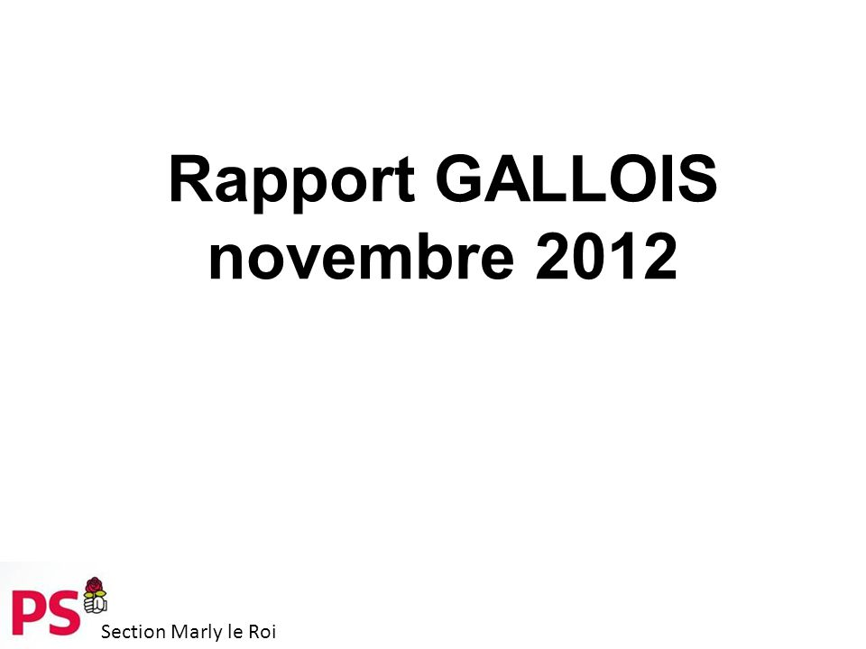Section Marly le Roi Rapport GALLOIS novembre 2012