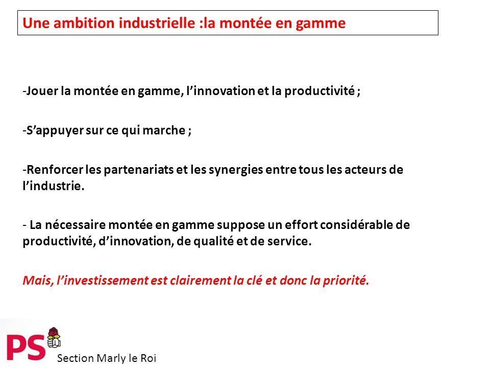 Section Marly le Roi Une ambition industrielle :la montée en gamme -Jouer la montée en gamme, l'innovation et la productivité ; -S'appuyer sur ce qui marche ; -Renforcer les partenariats et les synergies entre tous les acteurs de l'industrie.