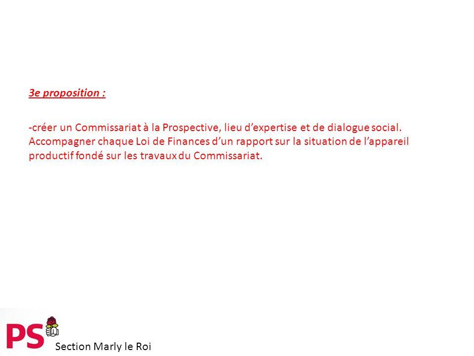 Section Marly le Roi 3e proposition : -créer un Commissariat à la Prospective, lieu d'expertise et de dialogue social.