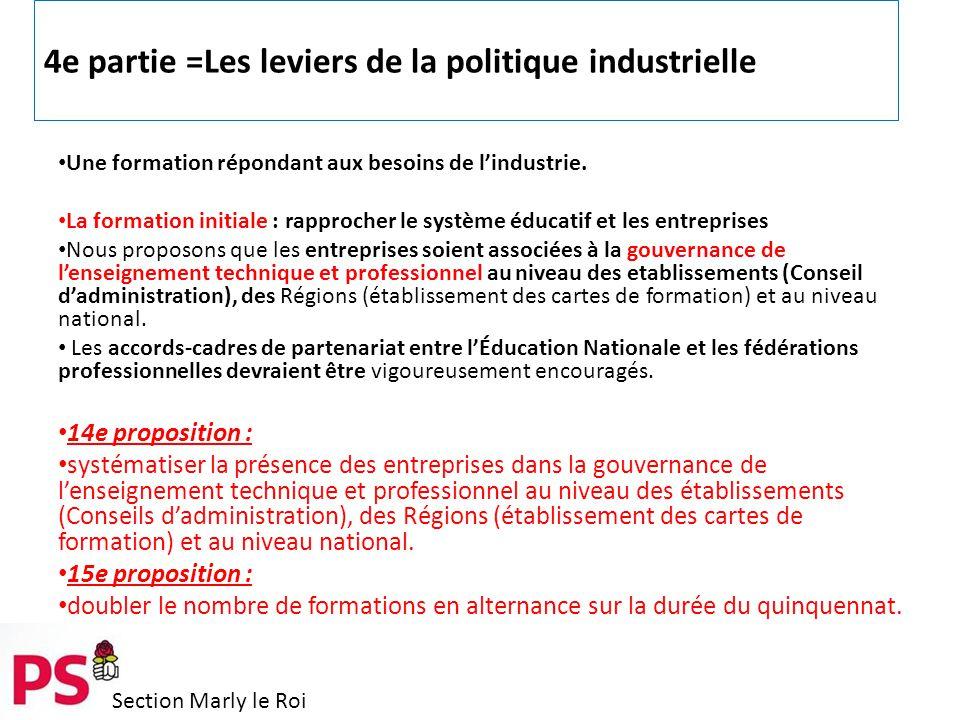 Section Marly le Roi 4e partie =Les leviers de la politique industrielle Une formation répondant aux besoins de l'industrie.