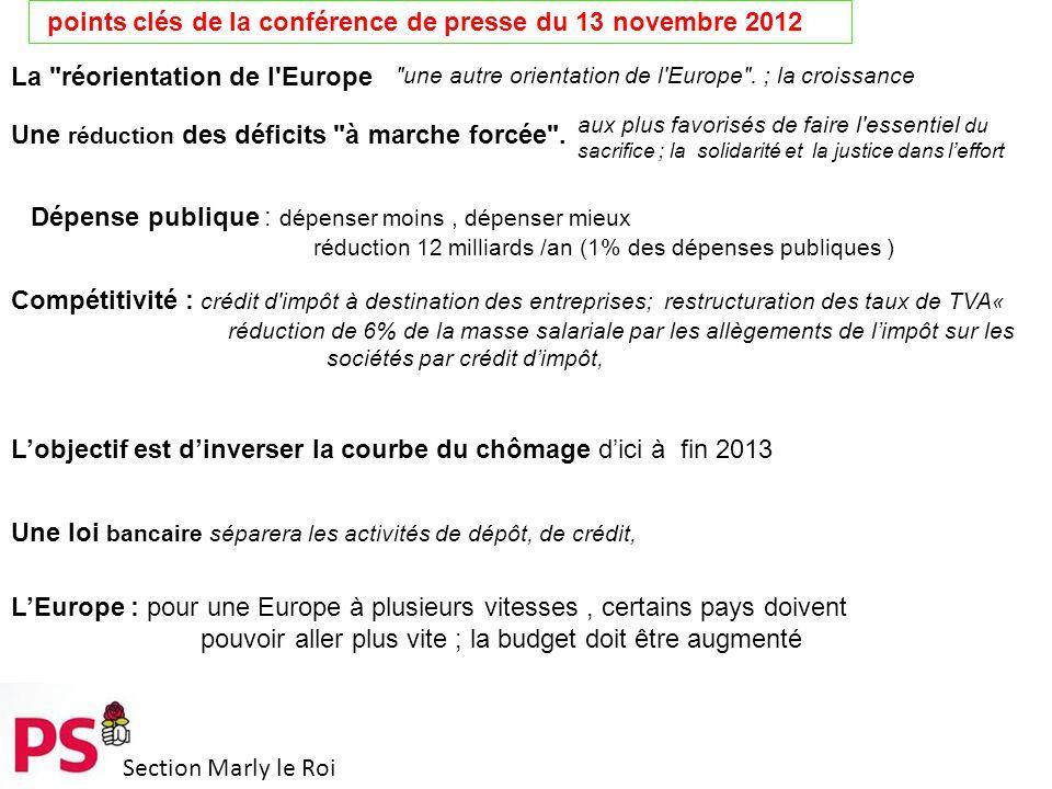 Section Marly le Roi points clés de la conférence de presse du 13 novembre 2012 La réorientation de l Europe une autre orientation de l Europe .