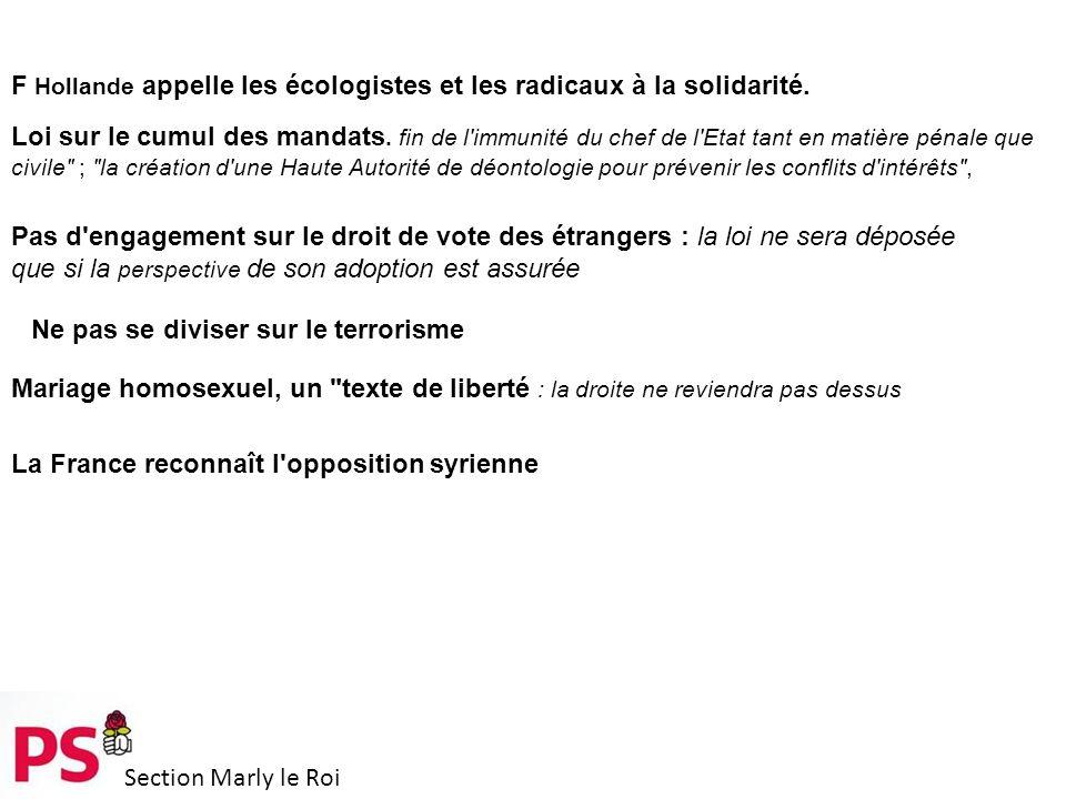 Section Marly le Roi F Hollande appelle les écologistes et les radicaux à la solidarité.
