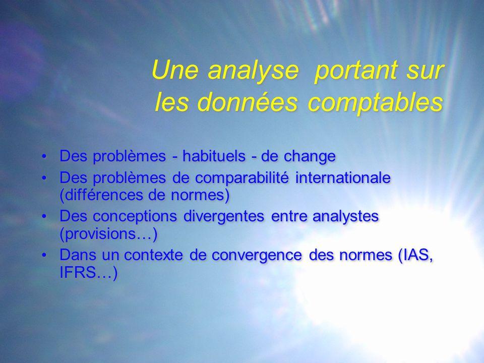 Une analyse portant sur les données comptables Des problèmes - habituels - de change Des problèmes de comparabilité internationale (différences de normes) Des conceptions divergentes entre analystes (provisions…) Dans un contexte de convergence des normes (IAS, IFRS…) Des problèmes - habituels - de change Des problèmes de comparabilité internationale (différences de normes) Des conceptions divergentes entre analystes (provisions…) Dans un contexte de convergence des normes (IAS, IFRS…)