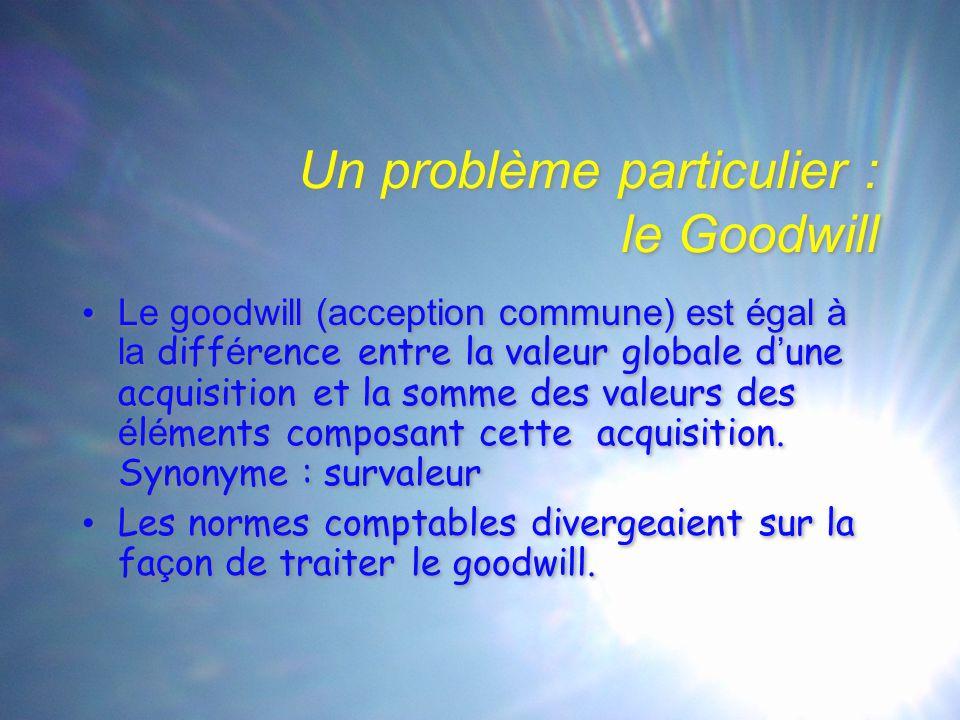 Un problème particulier : le Goodwill Le goodwill (acception commune) est égal à la diff é rence entre la valeur globale d ' une acquisition et la somme des valeurs des é l é ments composant cette acquisition.