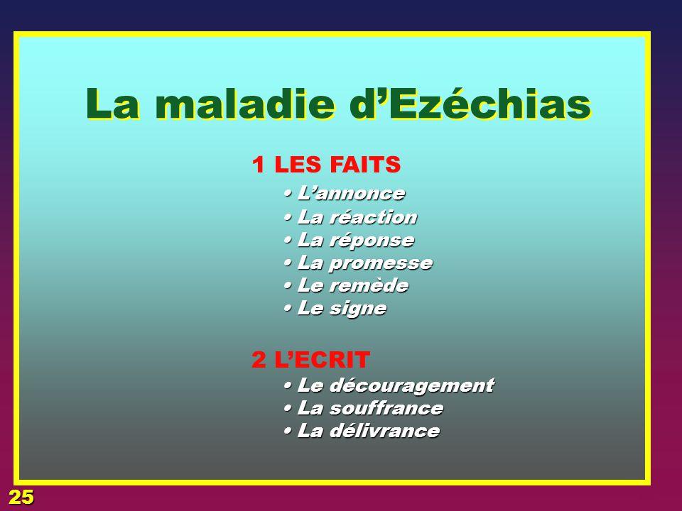 2 La maladie 3 L'EPREUVE EZECHIAS 24