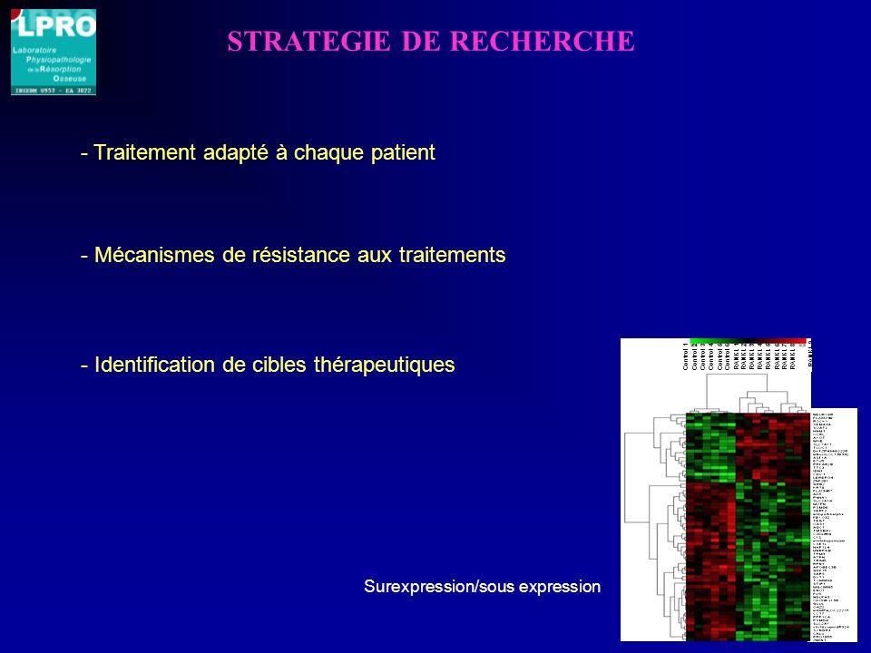 STRATEGIE DE RECHERCHE - Identification de cibles thérapeutiques Control 1Control 2Control 3Control 4Control 5Control 6 RANKL 1RANKL 2RANKL 3RANKL 4RANKL 5RANKL 6RANKL 7RANKL 8 RANKL 9 Surexpression/sous expression - Traitement adapté à chaque patient - Mécanismes de résistance aux traitements