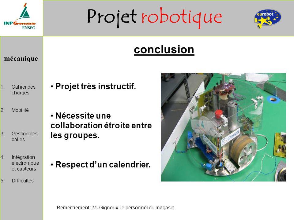 mécanique Projet robotique 1.Cahier des charges 2.Mobilité 3.Gestion des balles 4.Intégration electronique et capteurs 5.Difficultés conclusion Remerc