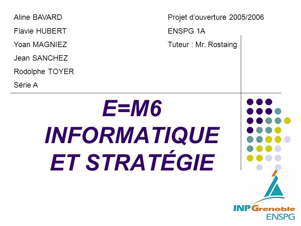 E=M6 INFORMATIQUE ET STRATÉGIE Projet d'ouverture 2005/2006 ENSPG 1A Tuteur : Mr. Rostaing Aline BAVARD Flavie HUBERT Yoan MAGNIEZ Jean SANCHEZ Rodolp