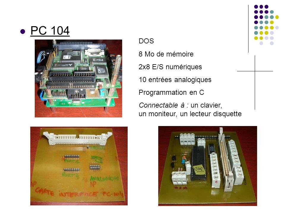 PC 104 DOS 8 Mo de mémoire 2x8 E/S numériques 10 entrées analogiques Programmation en C Connectable à : un clavier, un moniteur, un lecteur disquette
