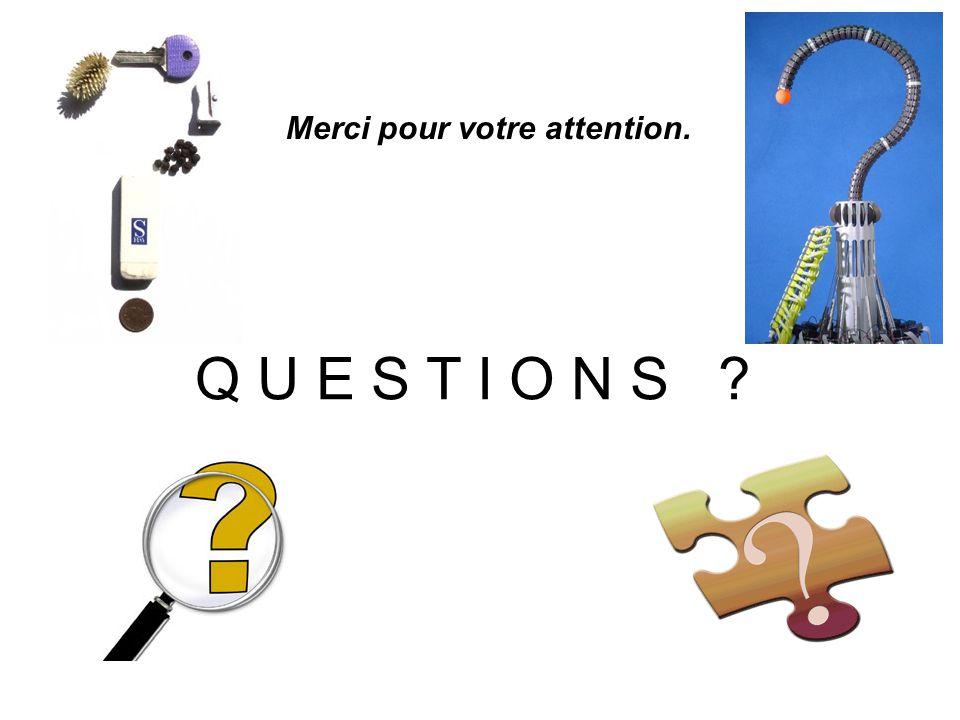 Merci pour votre attention. Q U E S T I O N S ?