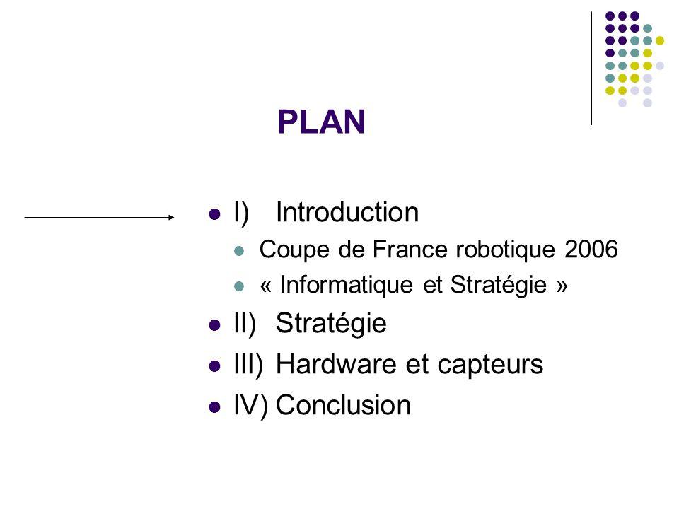 PLAN I) Introduction Coupe de France robotique 2006 « Informatique et Stratégie » II) Stratégie III) Hardware et capteurs IV)Conclusion