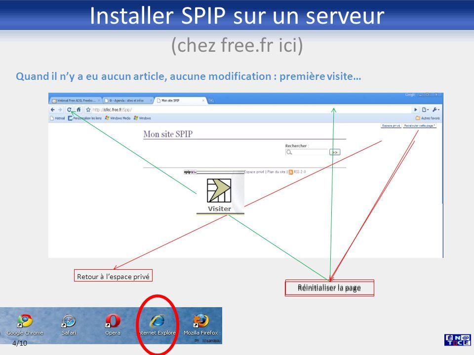 Installer SPIP sur un serveur (chez free.fr ici) Espace privé : installation des plugins pour Zpip ou autres squelettes… 1/3 Ph Misandeau 5/10