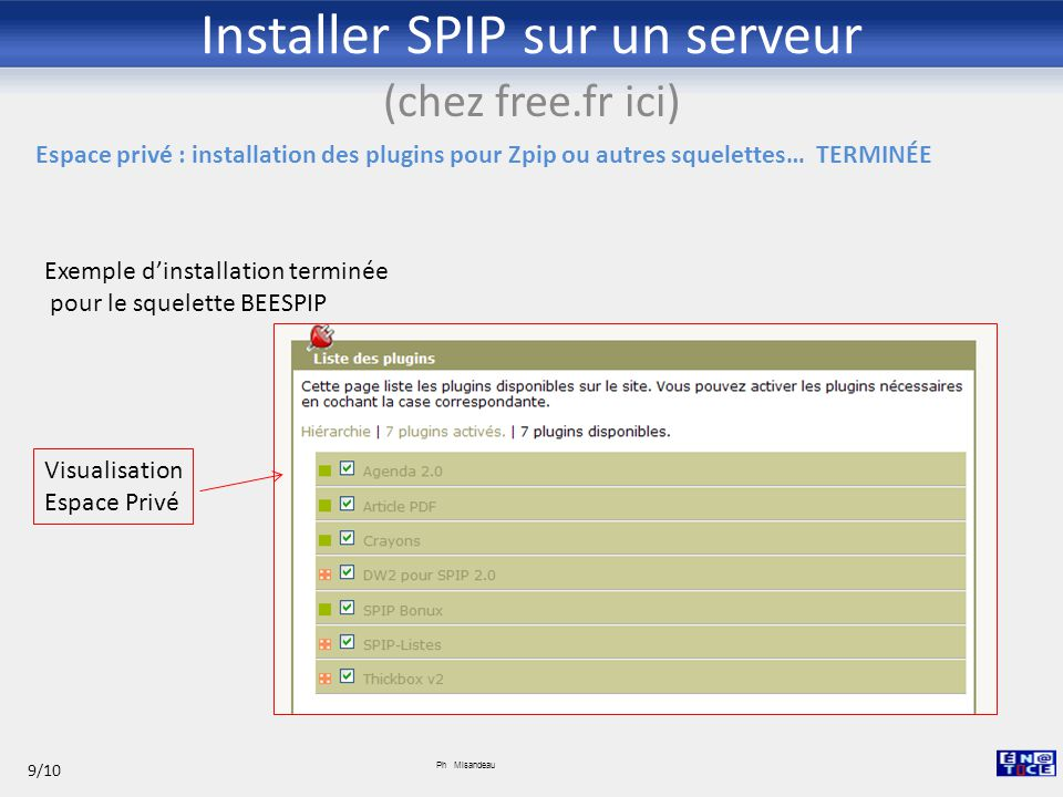 Installer SPIP sur un serveur (chez free.fr ici) Ph Misandeau 9/10 ETC. Exemple d'installation terminée pour le squelette BEESPIP Visualisation Espace