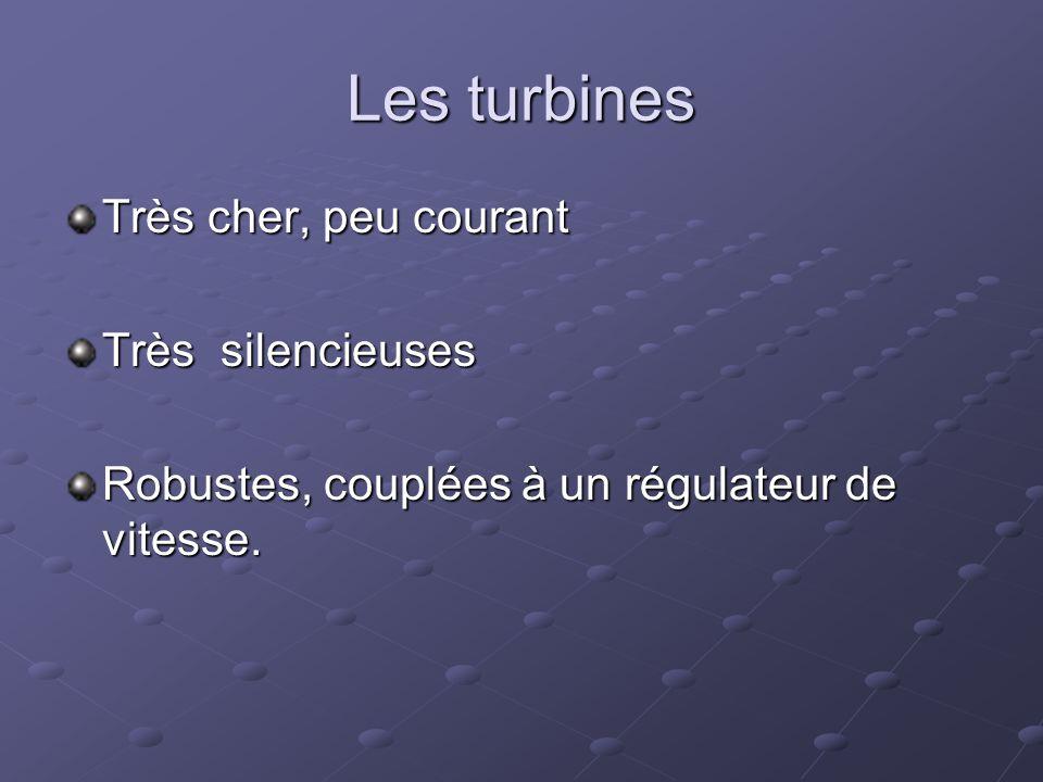 Les turbines Très cher, peu courant Très silencieuses Robustes, couplées à un régulateur de vitesse.