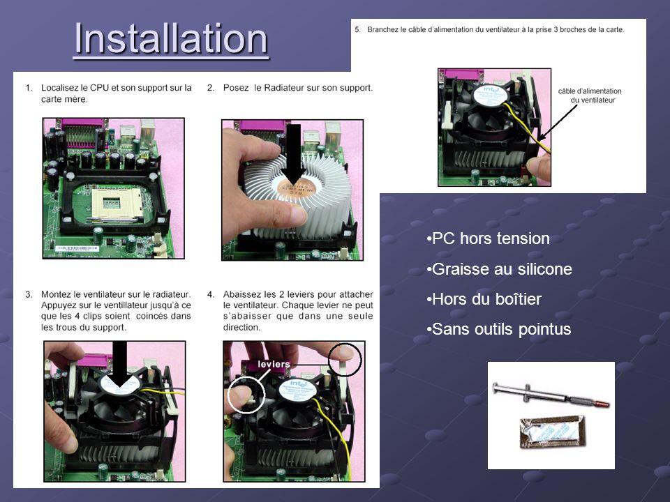 Installation PC hors tension Graisse au silicone Hors du boîtier Sans outils pointus