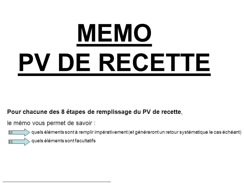 MEMO PV DE RECETTE Pour chacune des 8 étapes de remplissage du PV de recette, le mémo vous permet de savoir : quels éléments sont à remplir impérativement (et généreront un retour systématique le cas échéant) quels éléments sont facultatifs