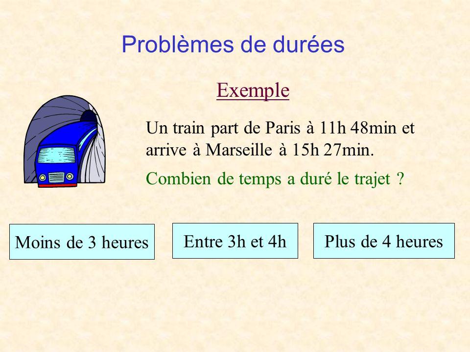 Problèmes de durées Exemple Un train part de Paris à 11h 48min et arrive à Marseille à 15h 27min.