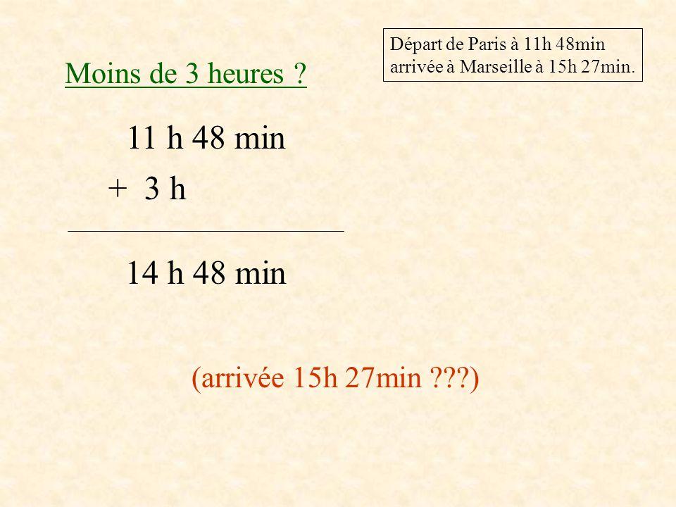 11 h 48 min + 4 h 15 h 48 min (arrivée 15h 27min ) Plus de 4 heures .