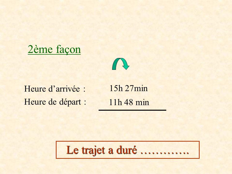 1ère façon Temps écoulé entre 11h48min et 12h00min Temps écoulé entre 12h00min et 15h27min Durée du trajet :