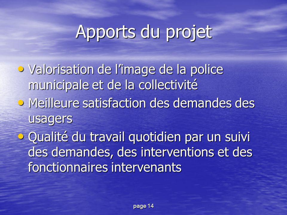 page 14 Apports du projet Valorisation de l'image de la police municipale et de la collectivité Valorisation de l'image de la police municipale et de