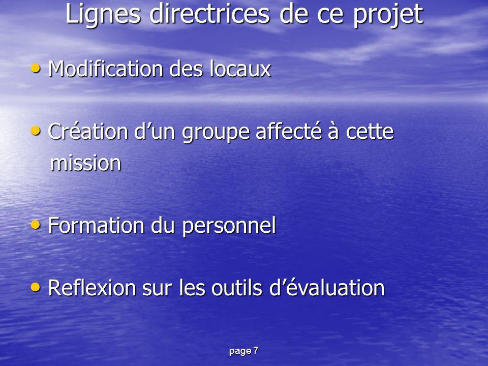 page 7 Lignes directrices de ce projet Modification des locaux Modification des locaux Création d'un groupe affecté à cette Création d'un groupe affec