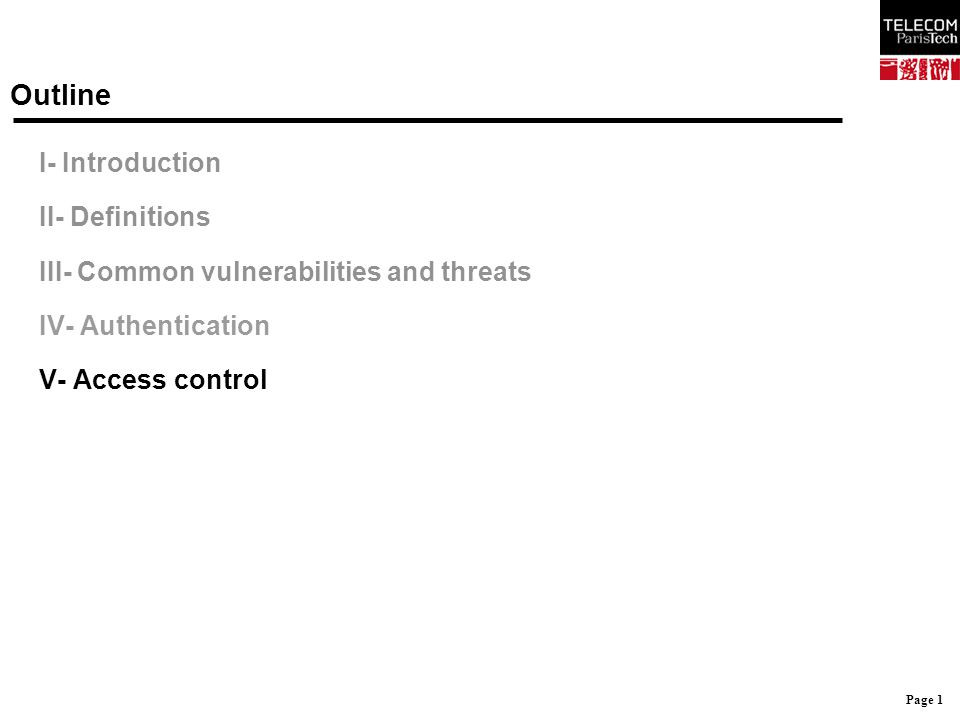 Page 1 Outline I- Introduction II- Definitions III- Common vulnerabilities and threats IV- Authentication V- Access control